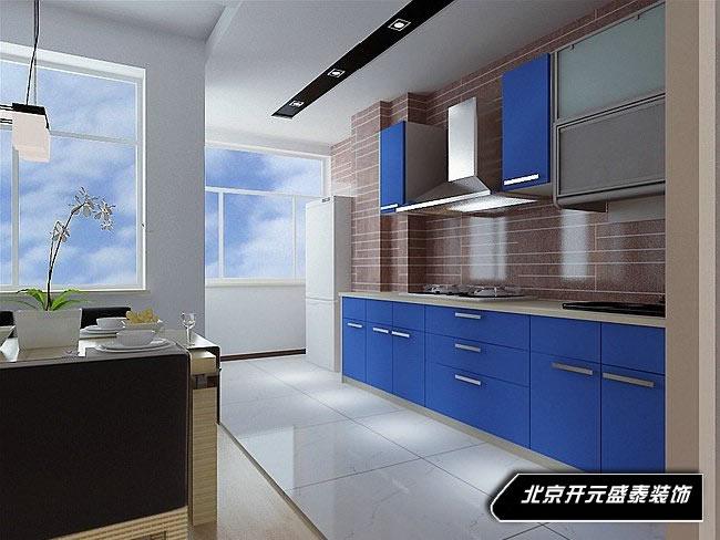 蓝色厨房效果图